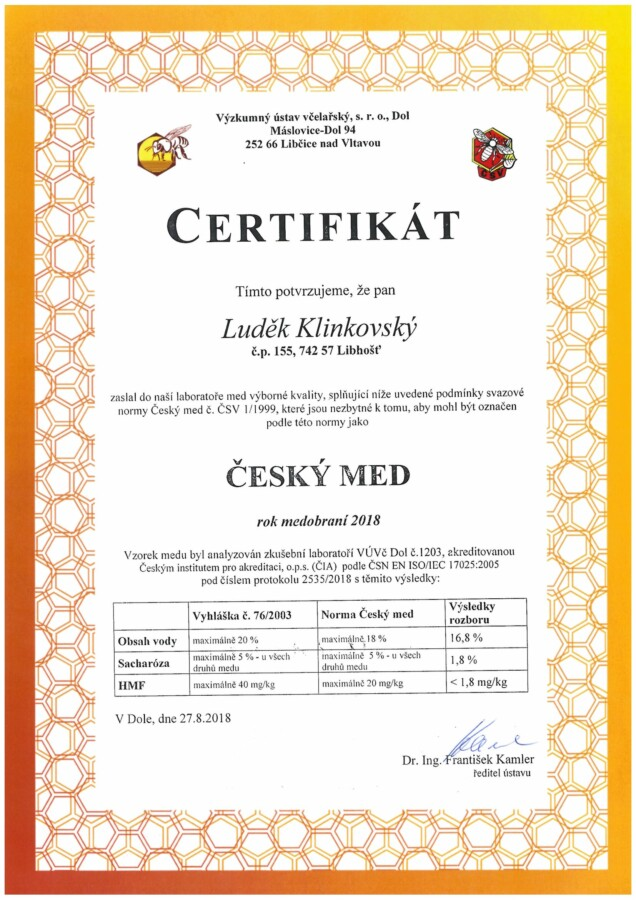 Rozbor medu certifikát lipový 2018