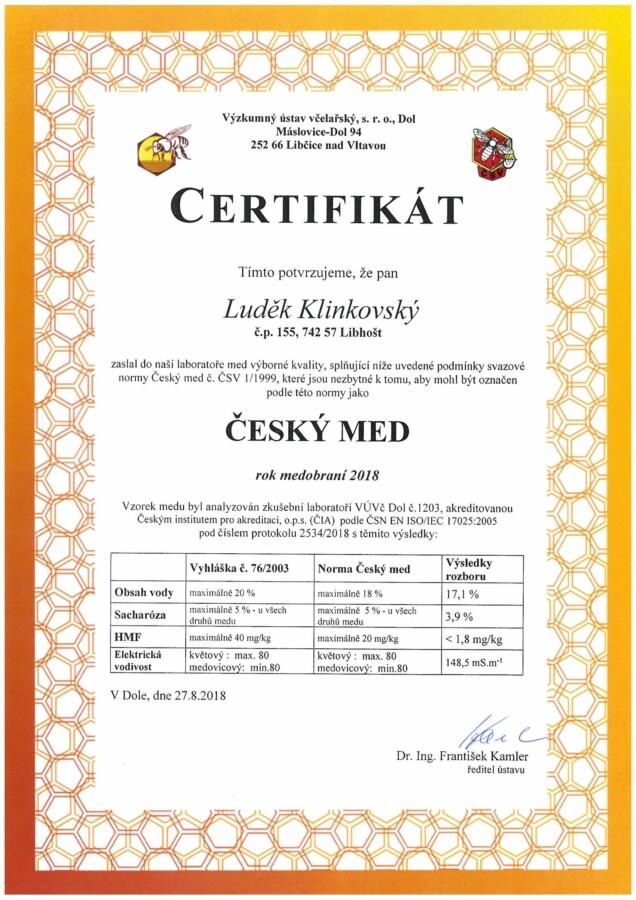 Rozbor medu certifikát medovicový 2018