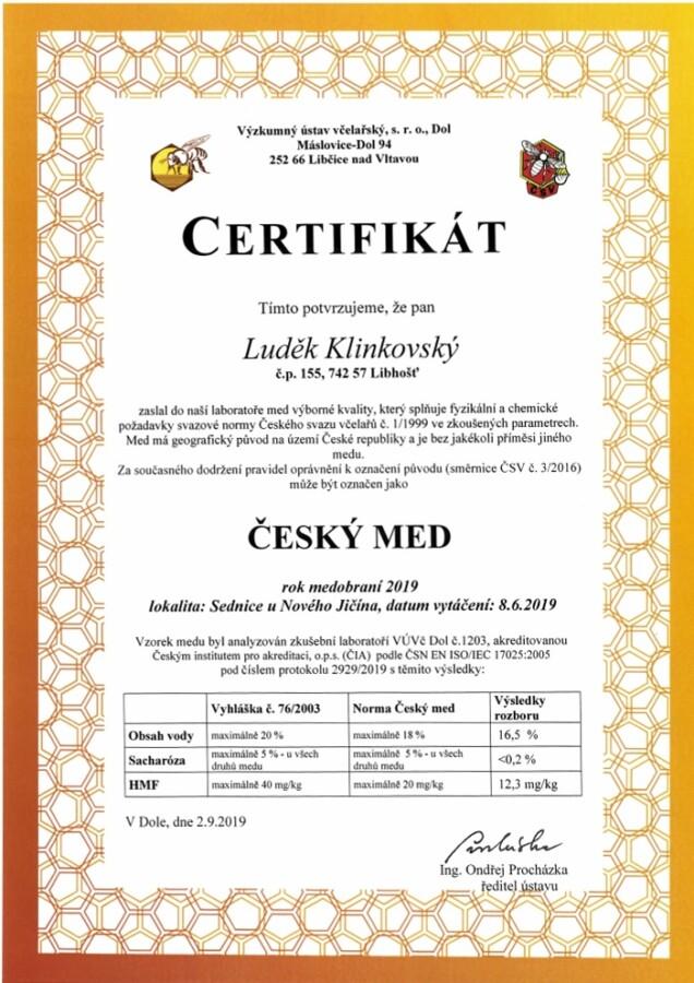 Certifikát Český med 2019 včelařství Klinkovšťí med Ostrava