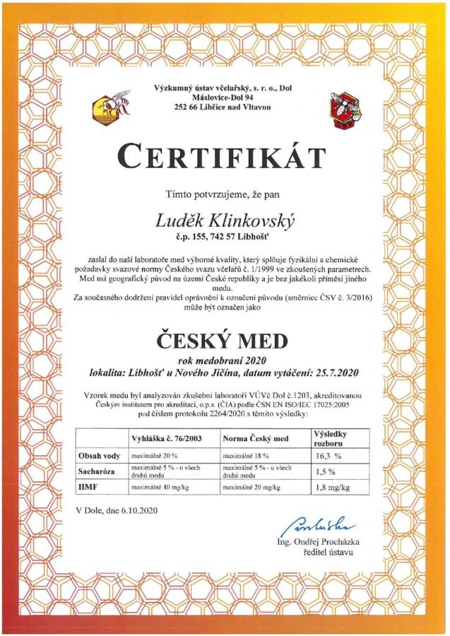 Certifikát rozbor medu 2020