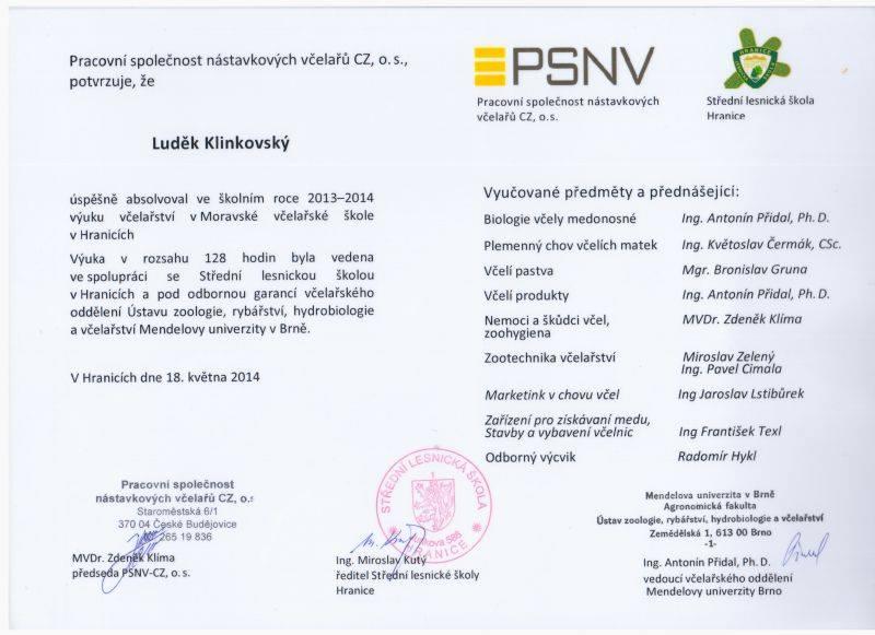 Diplom Moravská včelařská škola Luděk Klinkovský