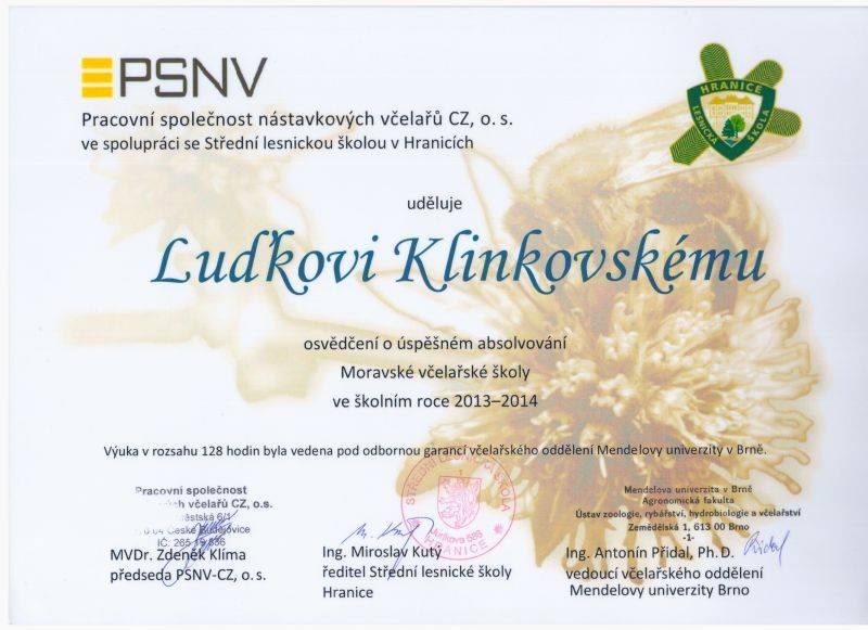 Moravská včelařská škola diplom Luděk Klinkovský