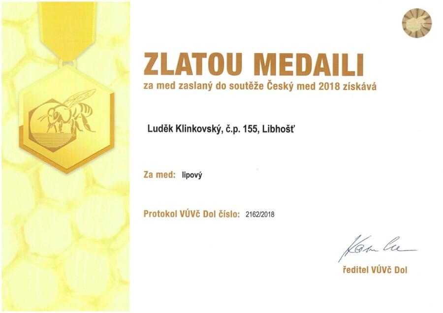 Zlatá medaile Český med 2018 med lipový