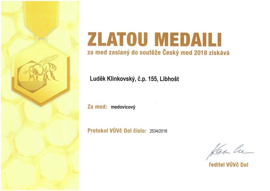 Zlatá medaile Český med 2018 med medovicový